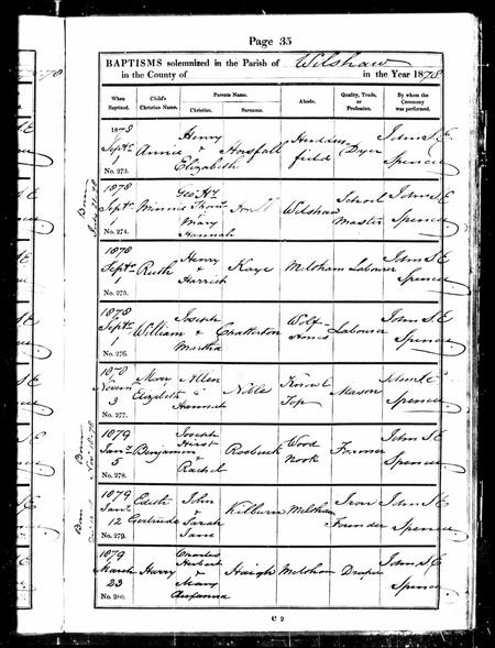 Baptism record from Ancestry.co.uk