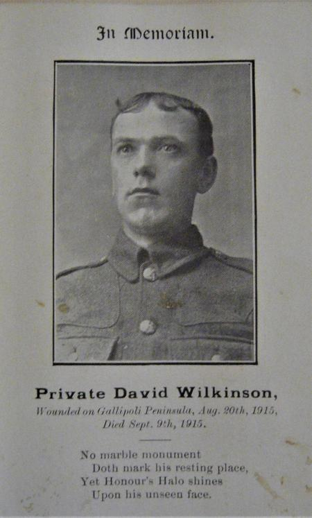 David Wilkinson Memorial Card