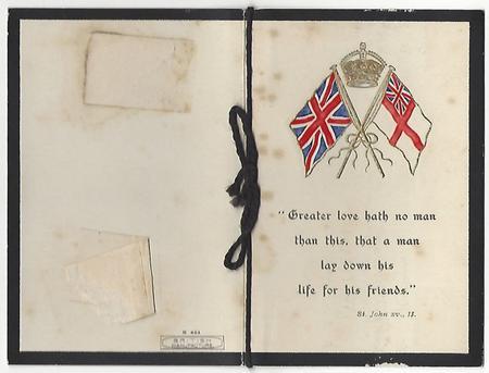 Memorial Card for Frank Swallow