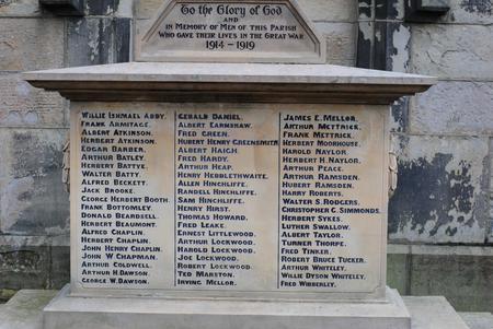 WW1 Memorial in St David's Churchyard, Holmbridge