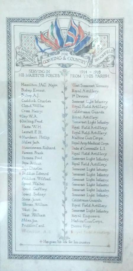 Broomfield Roll of Honour