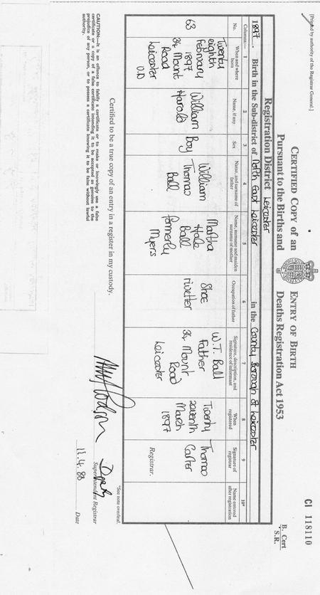 Ball, William Harold Birth Certificate