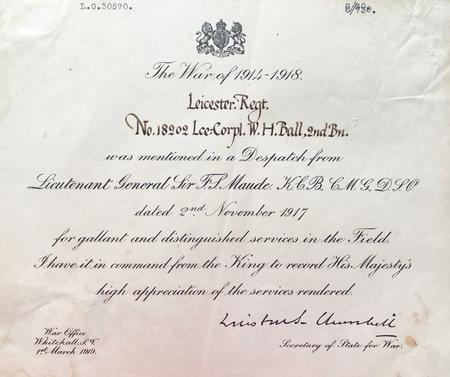 Ball, William Harold Mentioned in Despatches