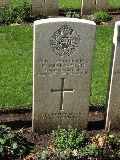 Gravestone for 2nd Cpl Edward Greensmith 82102 RE