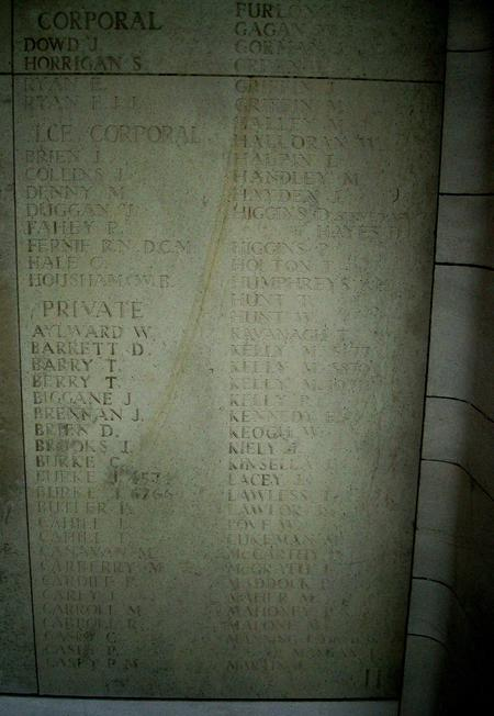 Panel 11 (lower) of the Le Touret Memorial