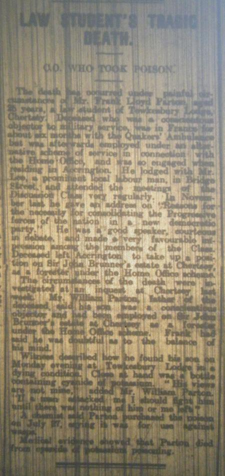 Article - Rossendale Free Press August 1918