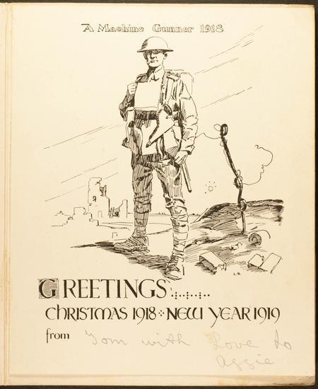 Machine Gun Corps Christmas card sent by Tom 1918