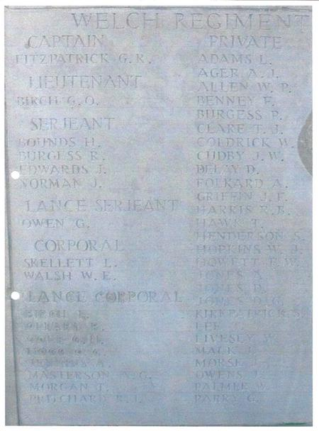 Showing position of name on gravestone