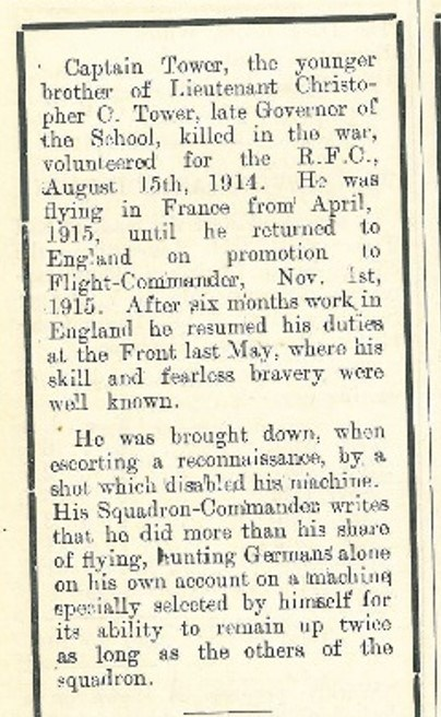 Obituary (column 2), The Brentwoodian, Dec 1916