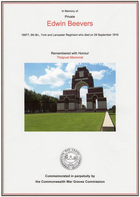 Edwin Beevers Thiepval Memorial