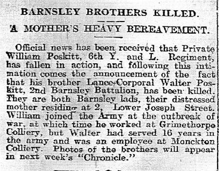 William and Walter Poskitt obituaries 1916