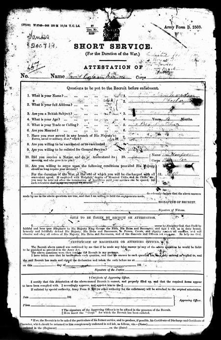D B Marsden enlistment papers