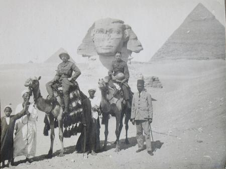 H A Bowker by the Sphinx in Egypt 22/4/1916