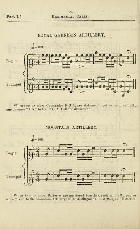 Image of the music for the RGA bugle call