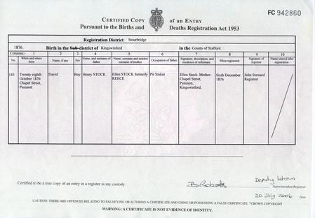 Birth certificate for David Stock