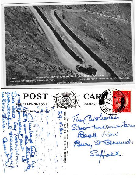 Postcard of the 'Devil's Elbow' from Aunt Mairi