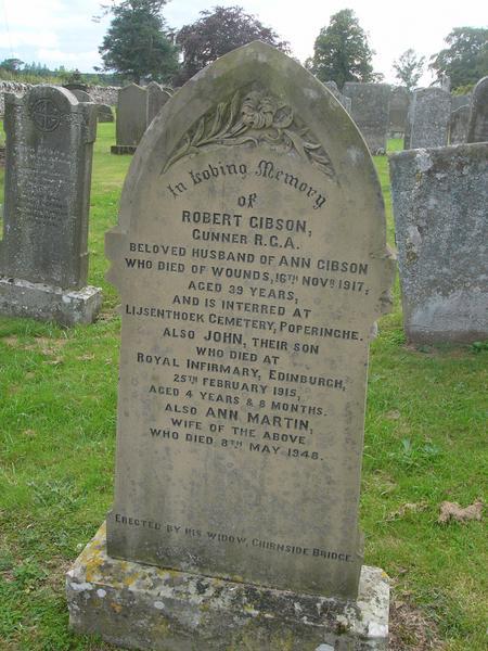 Graveyard memorial for Robert Gibson