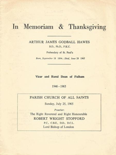 Cover page from memorial service