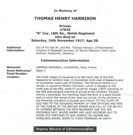 Thomas Henry Harrison - Commemoration