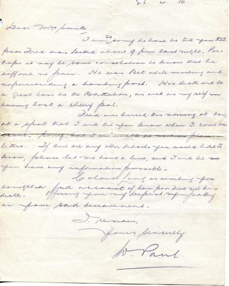 W.Paul letter to my grandmother 26th April 1916