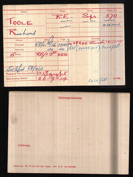 Sapper Richard Toole's Medal Card