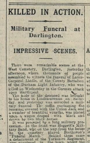 Northern Echo Funeral Headline