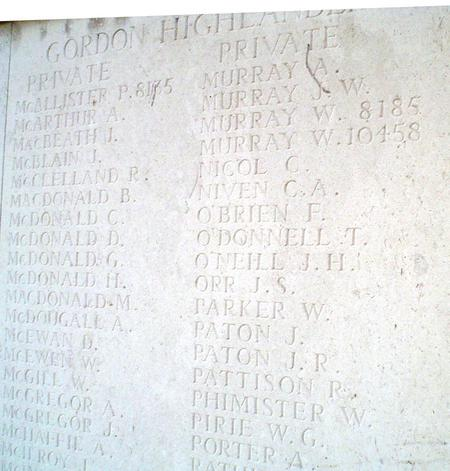 O'Brien, F. Le Touret Memorial to The Missing.