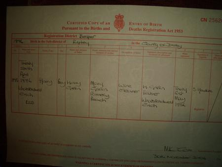 Great Uncle Harry Griffins Birth Certificate