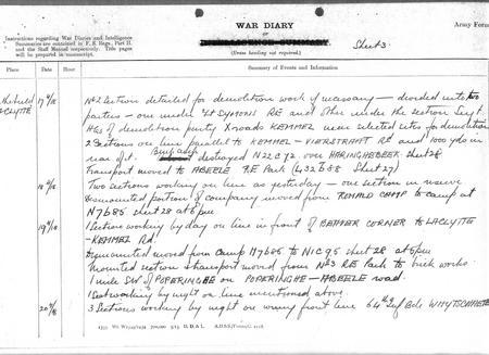 War Diary - Demolition Work