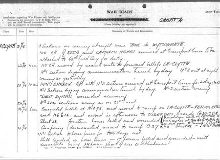War Diary - Wounded Missing