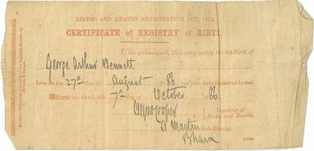George Arthur Bennett - Birth Certificate