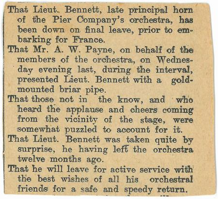 Newspaper Article - Leaving an Orchestra for WW1