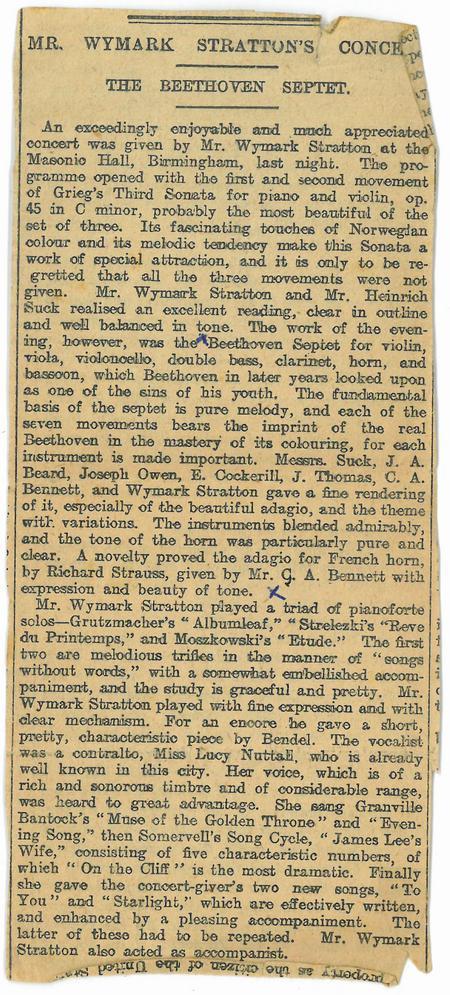 News Article - Mr Wymark Strattons Concert