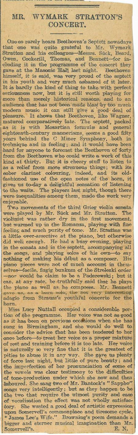 Mr Wymark Stratton Concert article 2