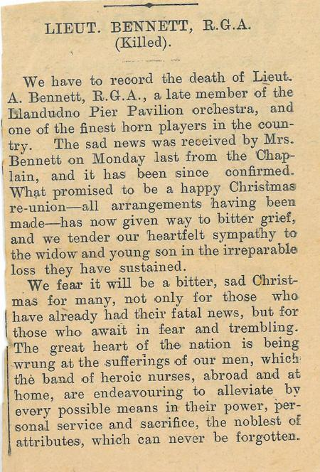 Lieutenant Bennett - Killed (Llandudno newspaper)