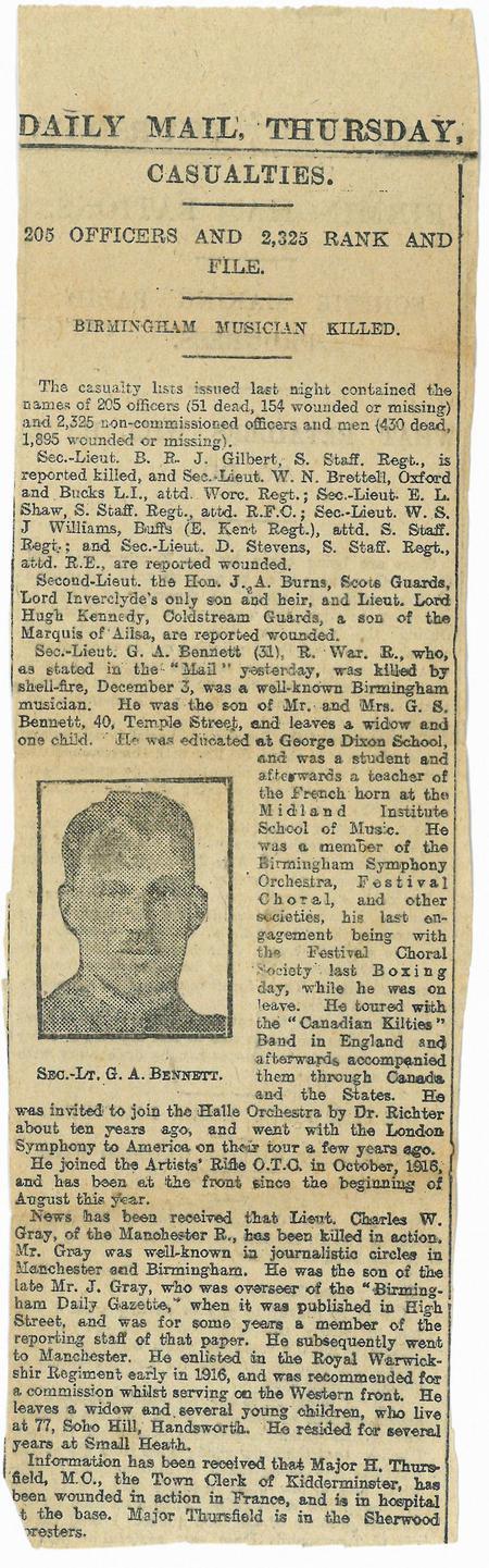 Daily Mail newspaper article - 2nd Lieut Bennett