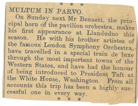 Article about first appearance in LLandudno