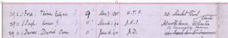 Extract from Birkenhead Institute school register