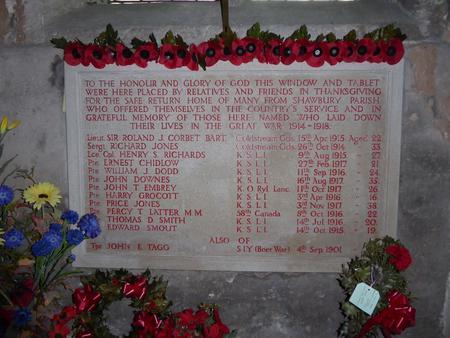 War Memorial, St Mary's Church, Shawbury.