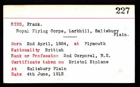 GB, Royal Aero Club Aviators' Certificates