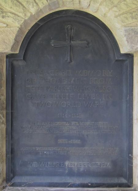 Panel of additional WW1 names in Blackmoor Memoria