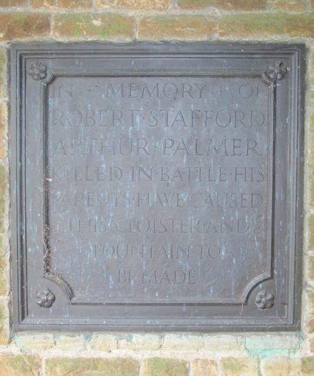 Palmer panel in Blackmoor Memorial Cloisters