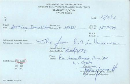 Death Notice - Veteran Affairs Canada