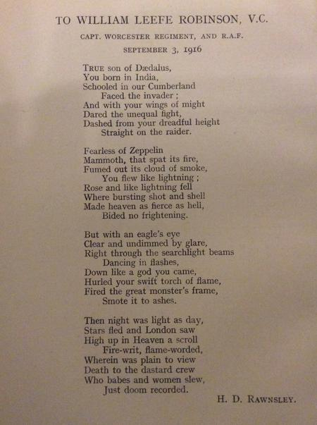 Poem to William Leefe Robinson