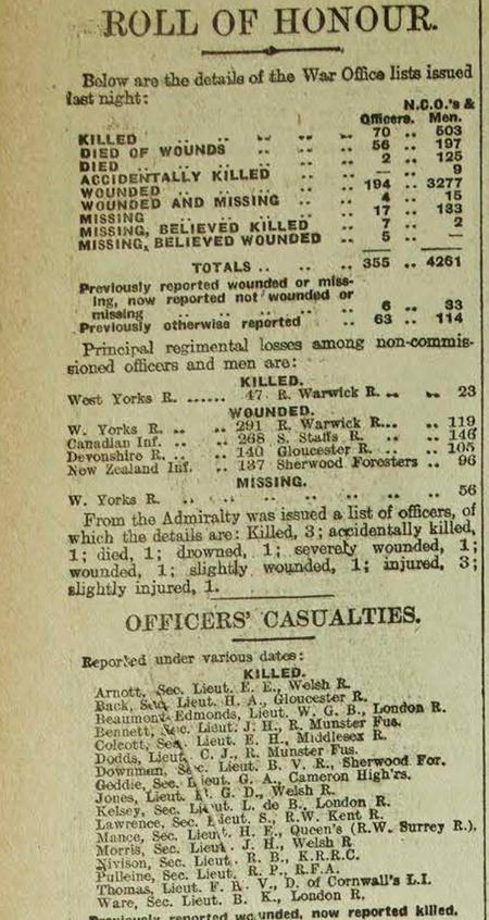 Casualty list from London Telegraph 2 Oct. 1916