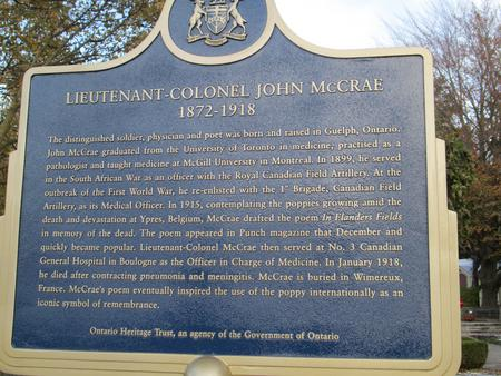 Government of Ontario Plaque, McCrae House