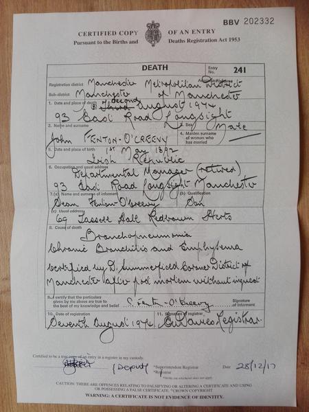 Death Certificate for John Creevy/Fenton-O'Creevy