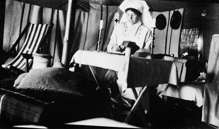 Nursing Sister Ruby G. Peterkin in her tent