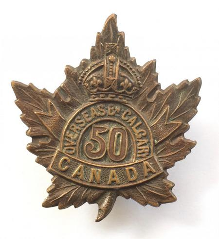50th Battalion (Calgary), CEF cap badge