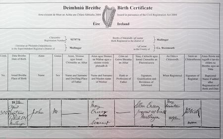 John Creevy Birth Certificate